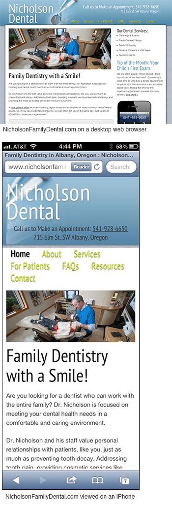 NicholsonFamilyDental.com mobile screenshot
