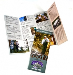 Tri-fold brochure created for Sprick Roofing by Visual People Design in Corvallis, Oregon