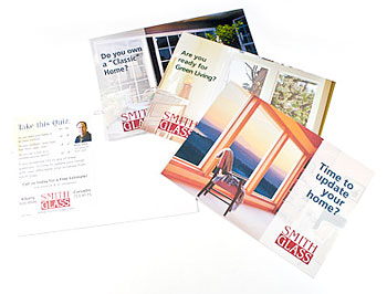 Postcards can be used for effective small business marketing when designed and written correctly. Here, a campaign created by Visual People for Smith Glass in Corvallis and Albany, Oregon.