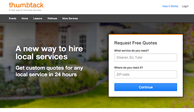 Screen shot of Thumbtack.com home page.