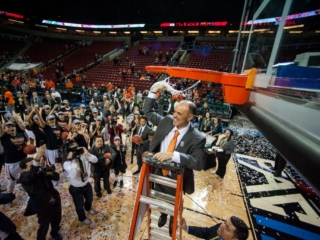 Oregon State University Women's Basketball Coach Scott Rueck Celebrates his team's Pac-12 Championship