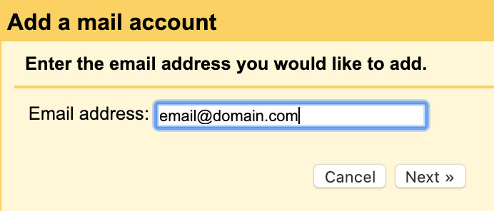 Email address to add