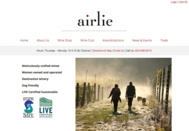 Airlie Winery website near Monmouth, Oregon