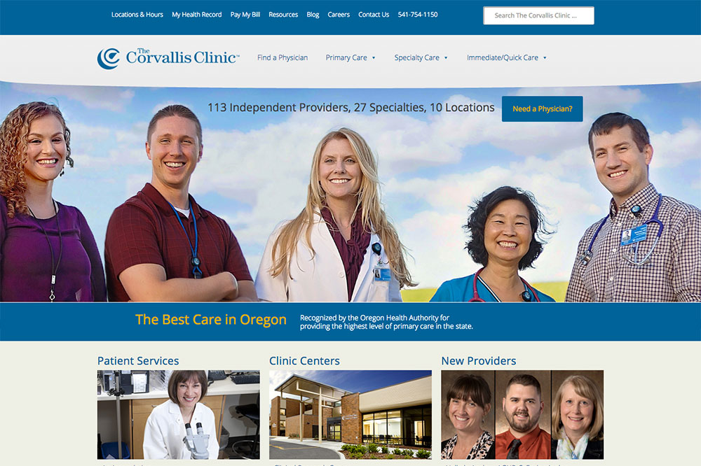 The Corvallis Clinic website in Corvallis, Oregon