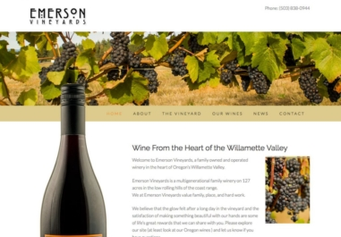 Emerson Vineyards website in Monmouth, Oregon