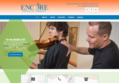 Encore Physical Therapy website in Corvallis, Oregon