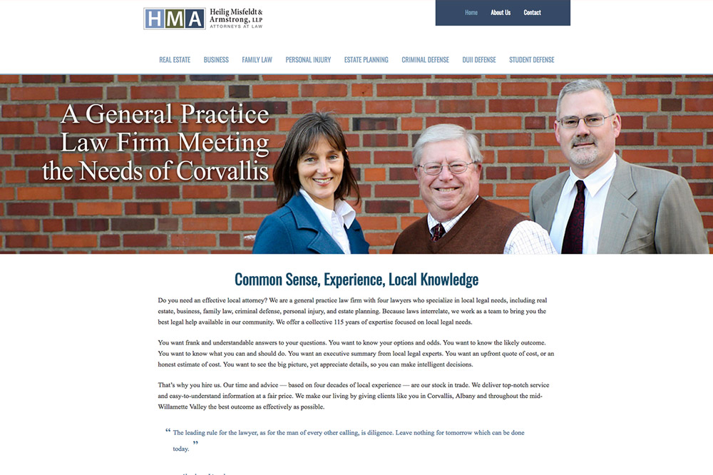 Heilig, Misfeldt & Armstrong, Attorneys website in Corvallis, Oregon