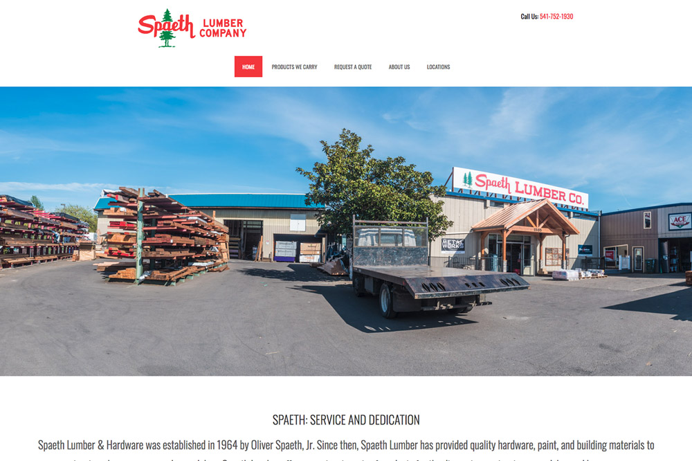 Spaeth Lumber website in Corvallis, Philomath and Lebanon, Oregon