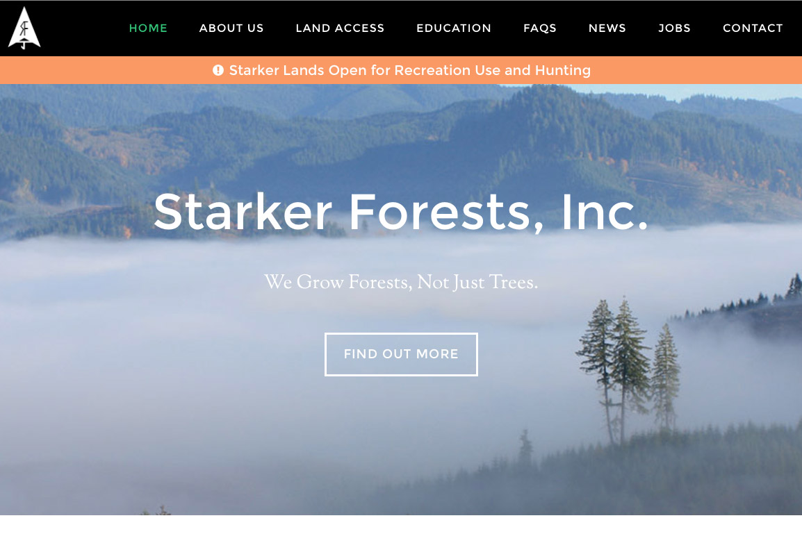 Starker Forests, Inc., website in Corvallis, Oregon