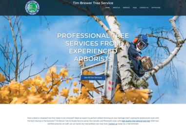 Tim Brewer Tree Service website in Corvallis, Oregon