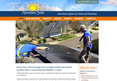 Abundant Solar website in Corvallis, Oregon