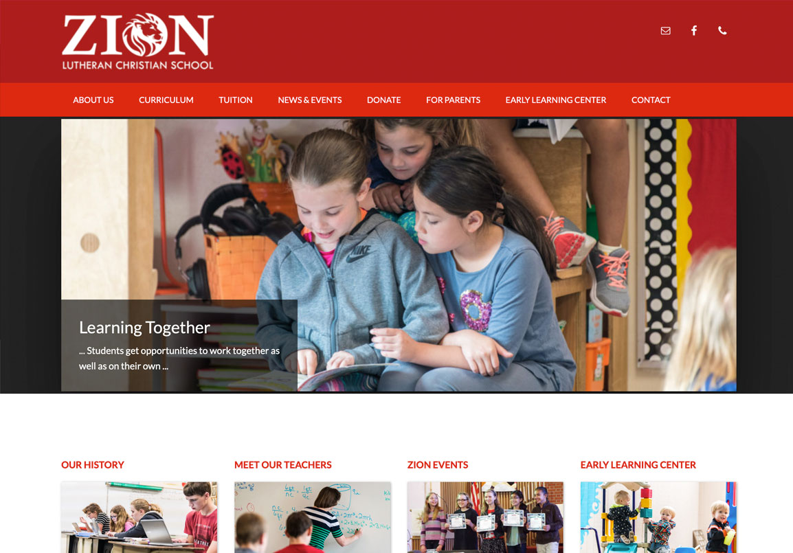 Zion Private School website in Corvallis, Oregon